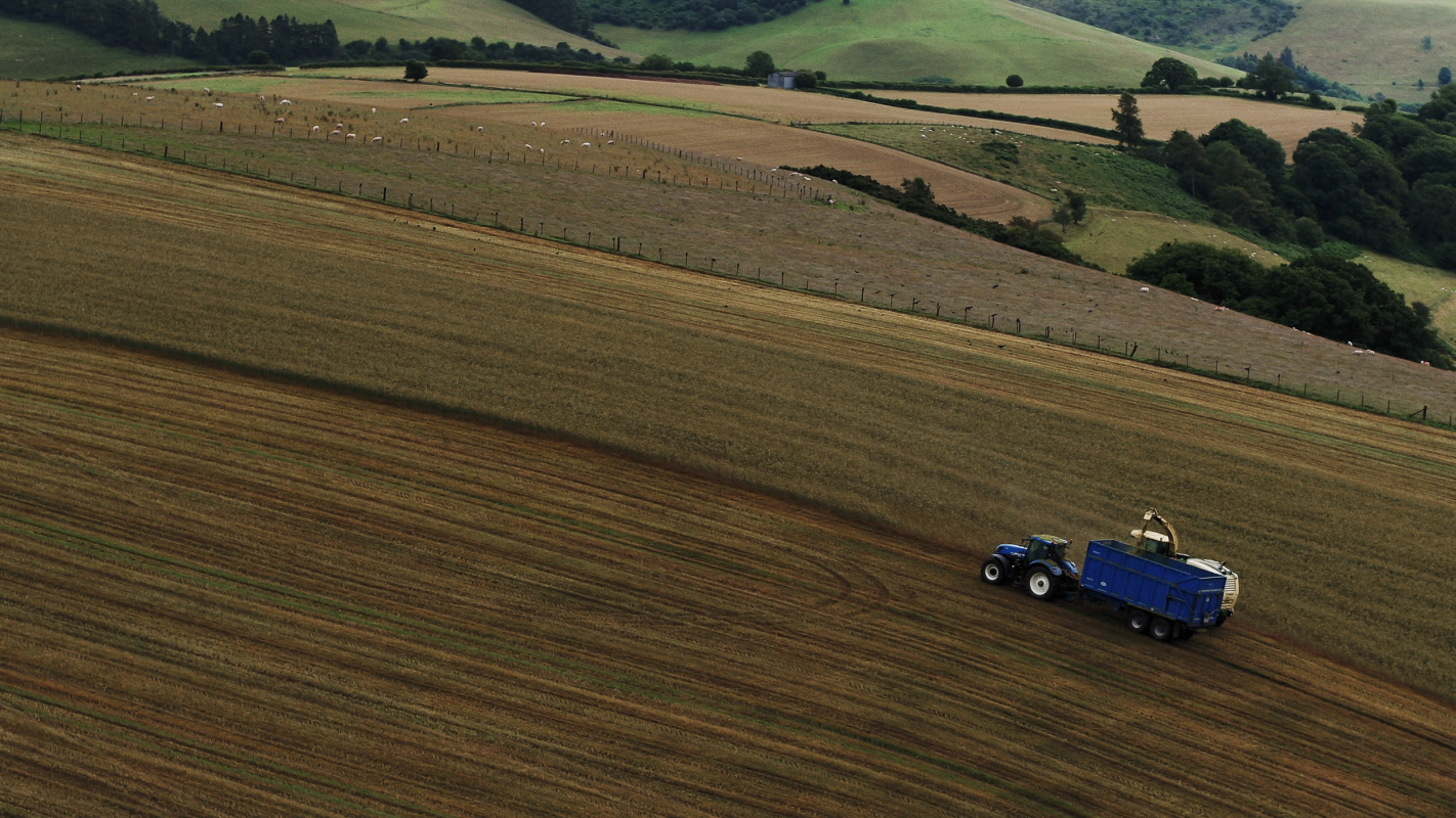 aerial photography of tractor in wales