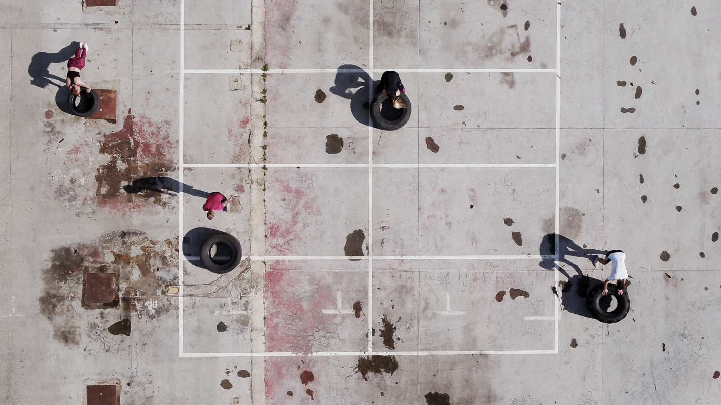 aerial photo of fitness workout