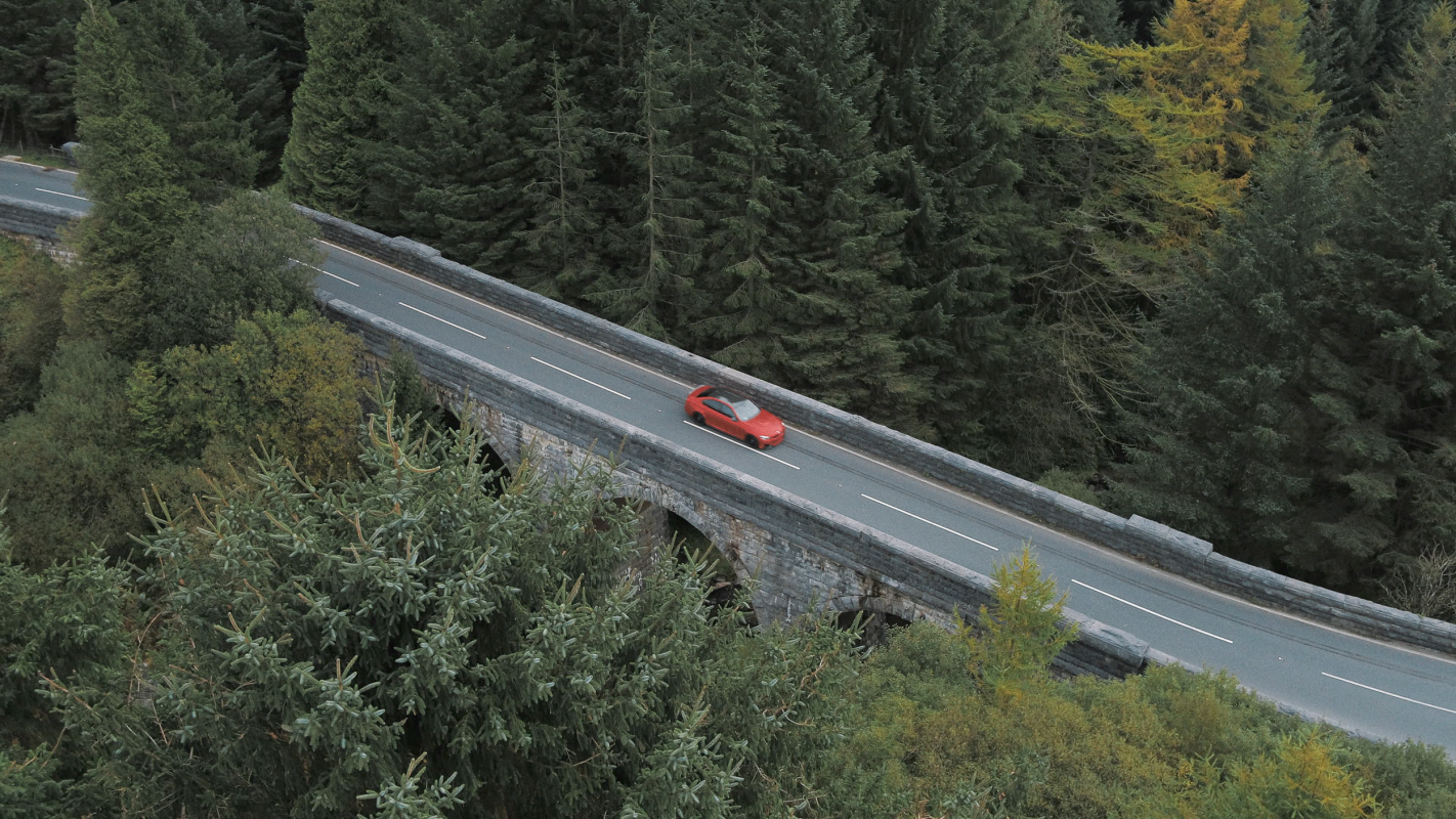 aerial photograph of bmw m3 in wales