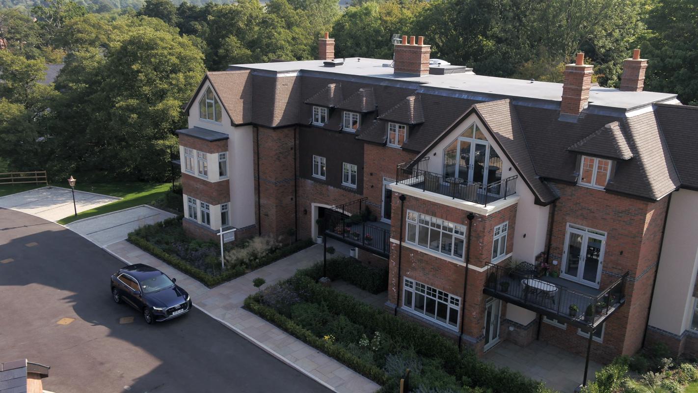 aerial photo of kingsbrooke house development